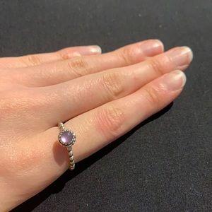 PANDORA Amethyst Silver Ring